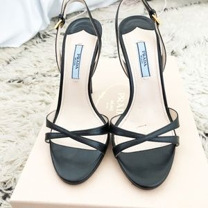 Authentic Prada Black Slingback Sandals - Sz. 36